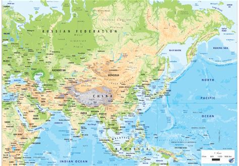 AS/OGMAS02 Asia Physical Map - Graphic Education