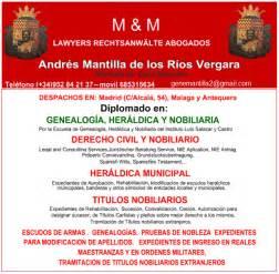 ASESORÍA JURIDICA NOBILIARIA ANDRÉS MANTILLA DE LOS RÍOS