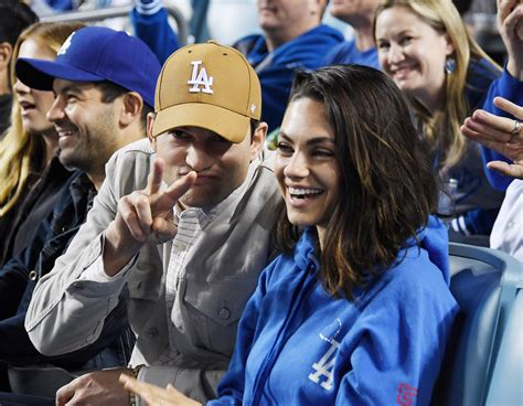 Ashton Kutcher and Mila Kunis Head to Dodgers Game for ...