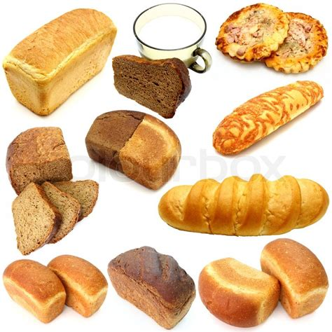 Assortment of different types of bread isolated on white ...