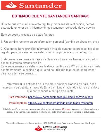 Ataque fraudulento a clientes del Santander Santiago de Chile.