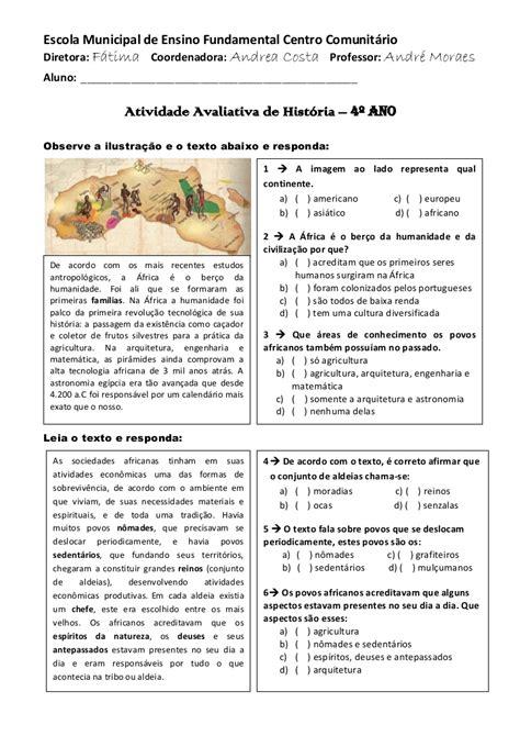 Atividade avaliatíva de hist 4º e 5º ano pdf