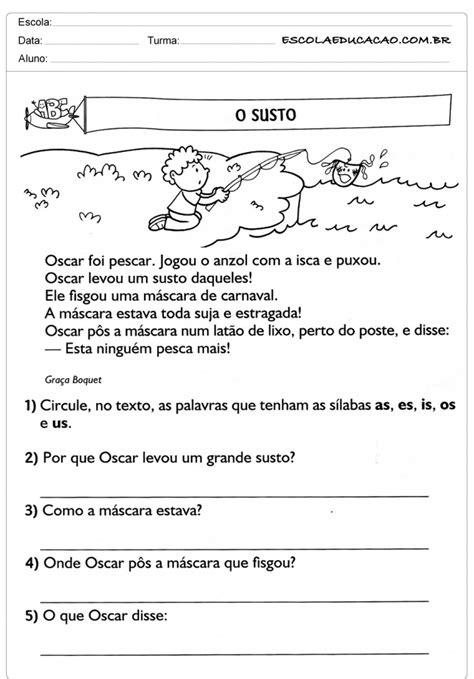 Atividades de Interpretação de Texto 3º ano - Para Imprimir