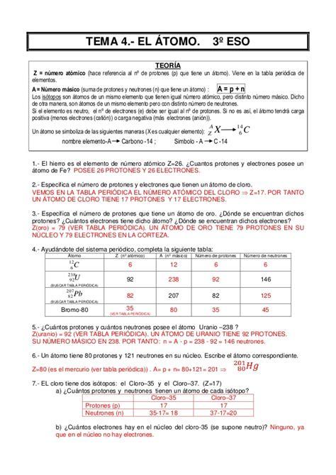 Atomo(ejercicios resueltos)3º eso