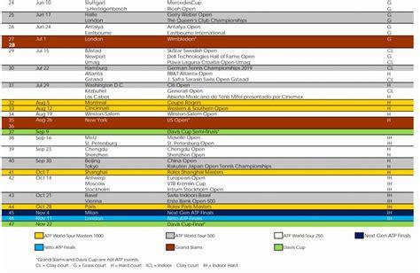 Atp Calendar 2018 Batennis Calendario 2019 Casi 138 ...