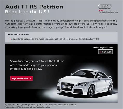 Audi TT RS US Import Official Petition Site Launched ...