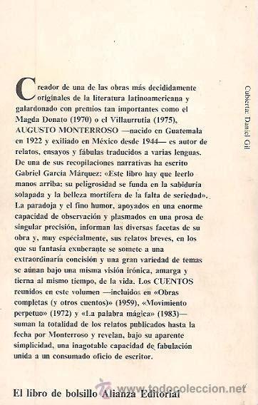 augusto monterroso / cuentos. alianza edit. 1ª - Comprar ...