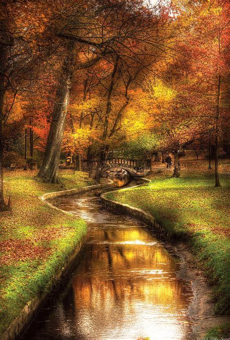 Autumn - Landscape - By A Little Bridge Photograph by Mike ...