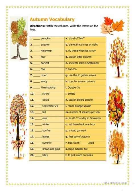 Autumn Vocabulary worksheet - Free ESL printable ...