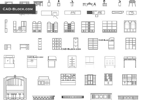 Auxiliary furniture CAD Blocks free download