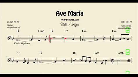 Ave María Partitura de Chelo y Fagot con acordes - YouTube