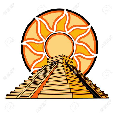 Aztec clipart aztec temple - Pencil and in color aztec ...