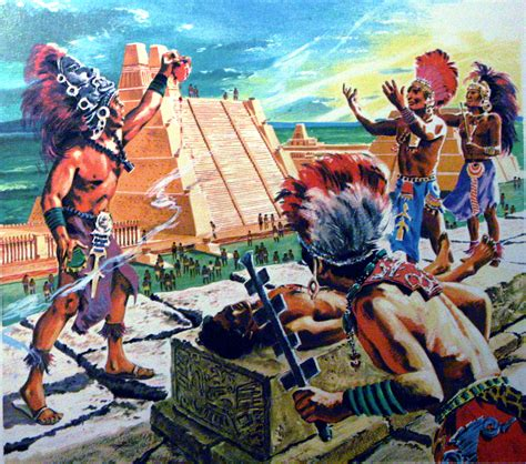 Aztec Ritual Sacrifice | Spanish Conquest War Art ...