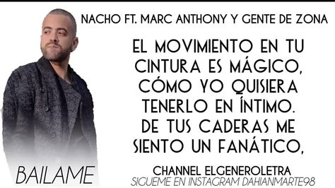Bailame LETRA Nacho Ft Marc Anthony Gente De Zona - YouTube