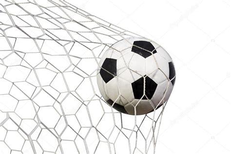 Balon de futbol en la red sobre un fondo blanco — Foto de ...