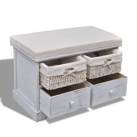 Banco baúl de madera blanca, con cajones / cestas tienda ...
