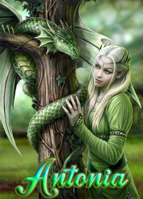 BANCO DE IMÁGENES: Ninfa del bosque con su dragón y ...