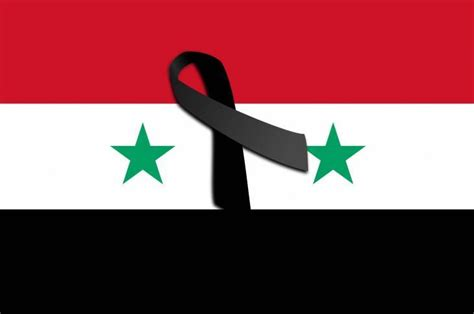 Bandera de Siria con lazo negro