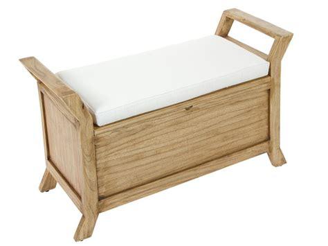 Banqueta baúl de madera con cojín blanco   Banquetas online