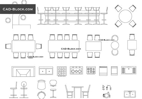 Bar furniture CAD Blocks download