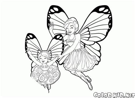 Barbie mariposa para colorear e imprimir