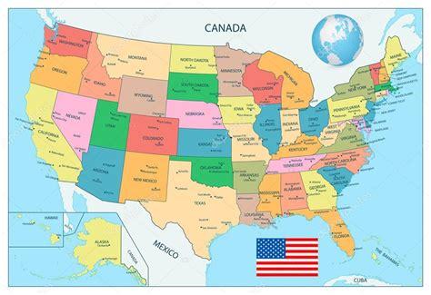 Bardzo szczegółowa Mapa polityczna Usa — Grafika wektorowa ...