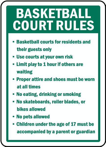 Basketball Court Rules Sign by SafetySign.com - F7755