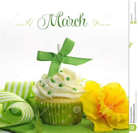Beautiful Green And Yellow Spring Theme Cupcake With ...