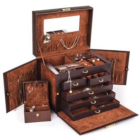 BEAUTIFUL LARGE BROWN LEATHER JEWELRY BOX CASE STORAGE ...