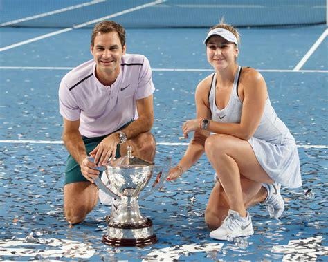 Belinda Bencic and Roger Federer   2018 Hopman Cup mixed ...