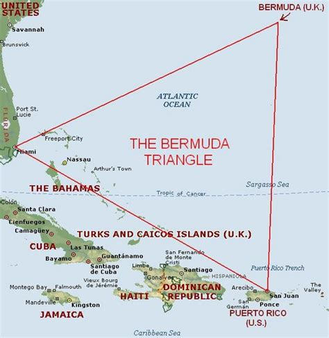 Bermuda Triangle Map, Area and Location | Bermuda Triangle ...