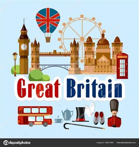 Bienvenido Inglaterra Colección Elementos Simbólicos Fondo ...