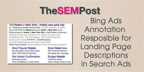Bing Ads Annotation Cause Landing Page Descriptions in Ads