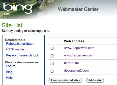 Bing para Webmasters - Carrero