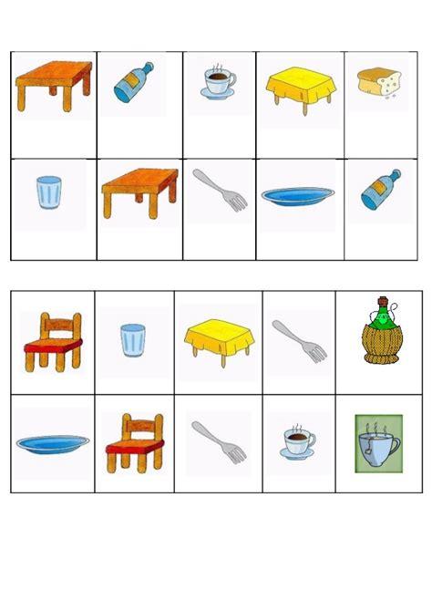 Bingo de objetos de la cocina
