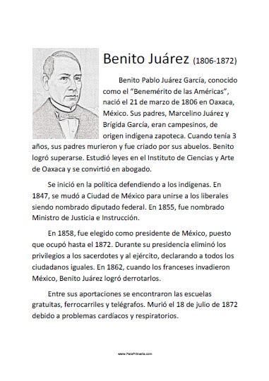 Biografía Corta de Benito Juárez - Para Imprimir Gratis ...