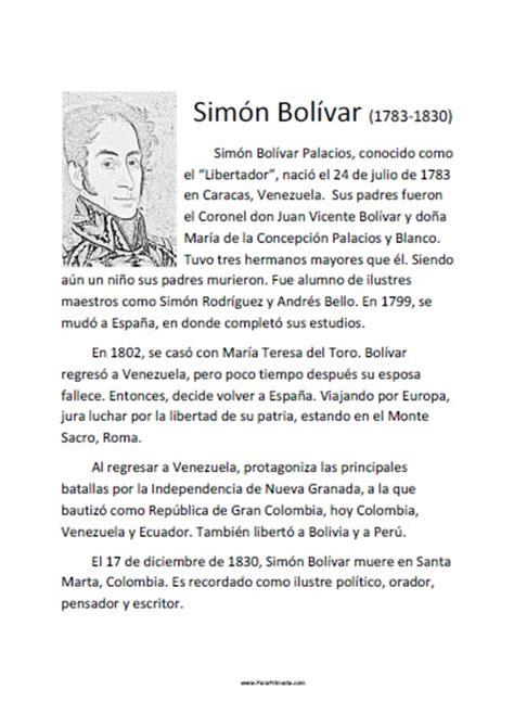 Biografía Corta de Simón Bolívar   Para Imprimir Gratis ...