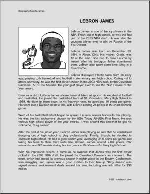 Biography: LeBron James  upper elem/middle  | abcteach