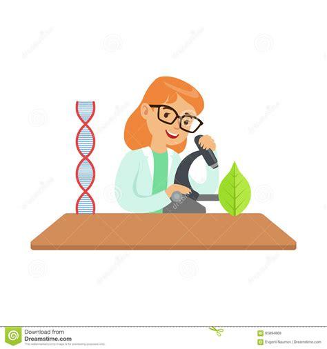 Biólogo With Microscope, Niño De La Muchacha Que Hace La ...