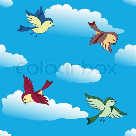 Birds flying in sky | Stock Vector | Colourbox