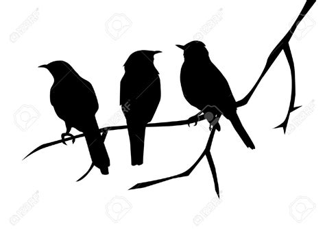 Birds Silhouettes On The Branch Royalty Free Cliparts ...