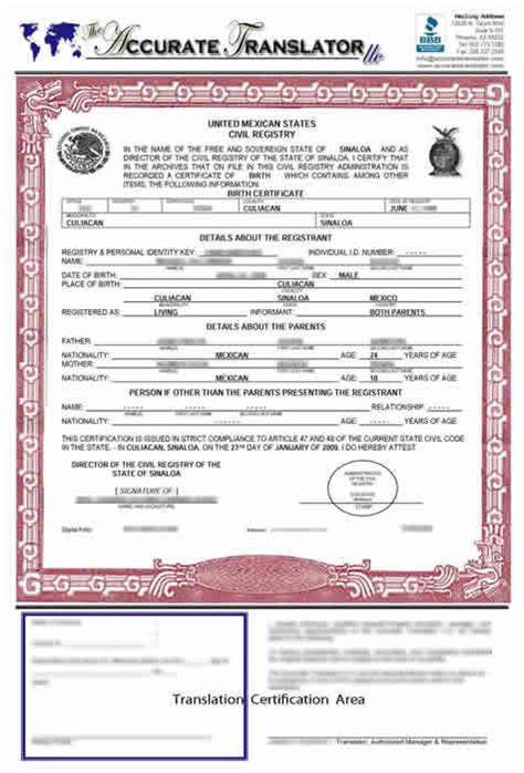 Birth Certificate Translation Template Mexico   Templates ...