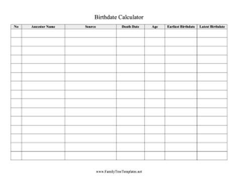 Birthdate Calculator Template