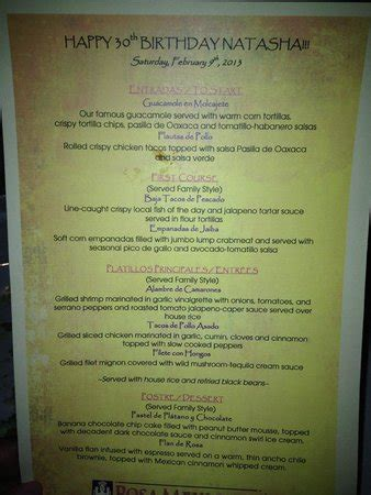 Birthday Menu   Picture of Rosa Mexicano   National Harbor ...