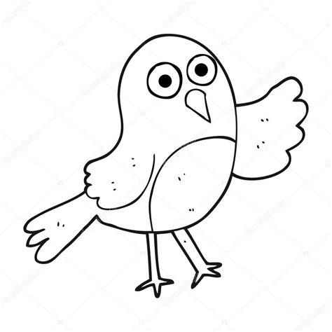 black and white cartoon bird — Stock Vector ...