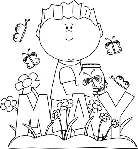 Black and White Month of May Spring Clip Art - Black and ...
