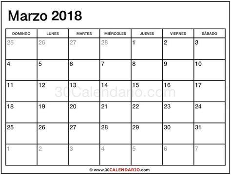 Blanco Calendario Marzo 2018 Con Feriados Y Feriados Para ...