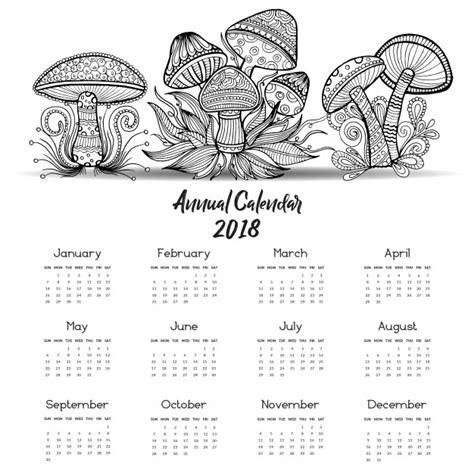 Blanco y negro hand dibujado calendario de hongos 2018 ...