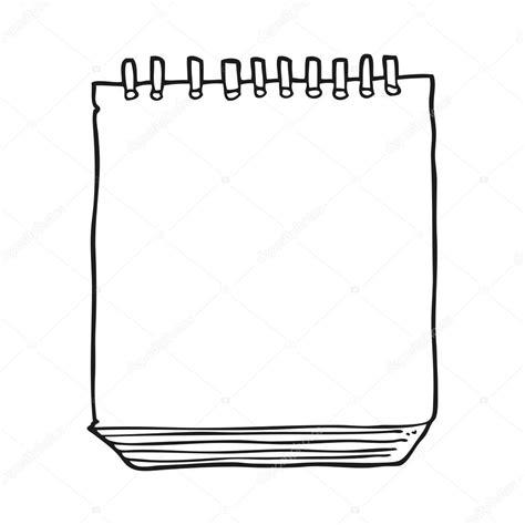 Bloc de notas blanco y negro de dibujos animados — Archivo ...
