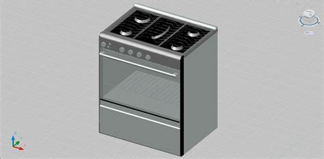 Bloques AutoCAD Gratis de cocina con horno en 3 dimensiones